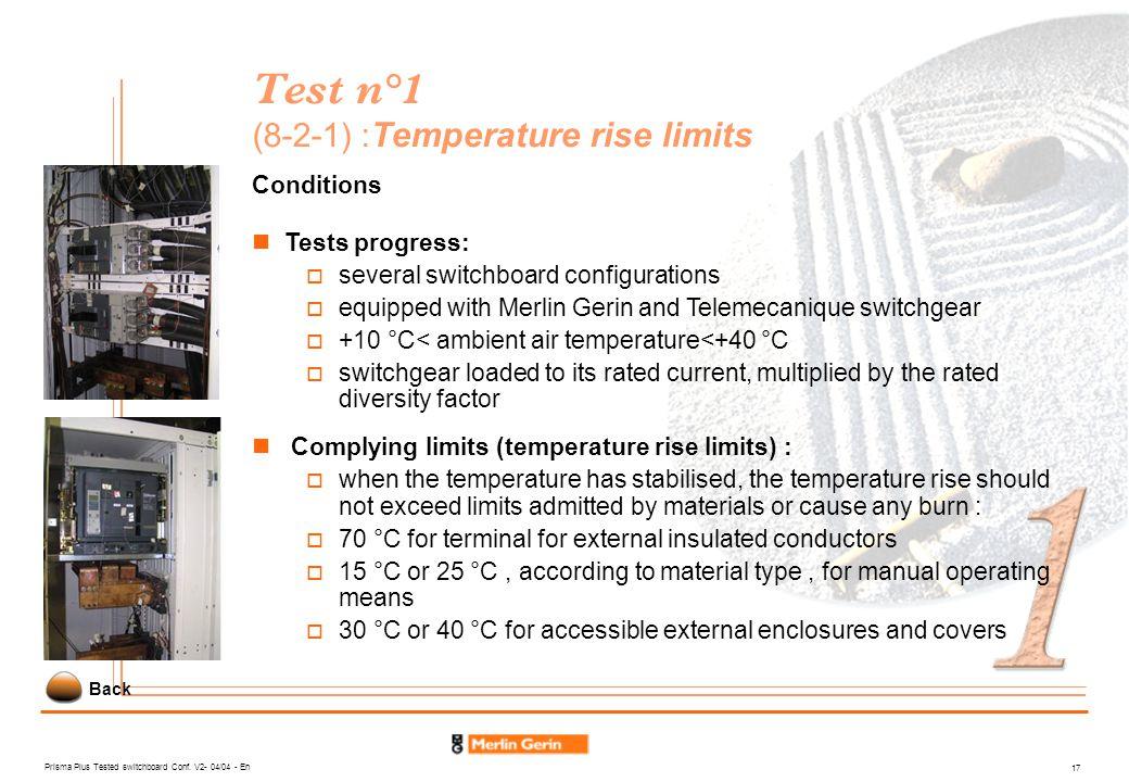 Test n°1 (8-2-1) :Temperature rise limits