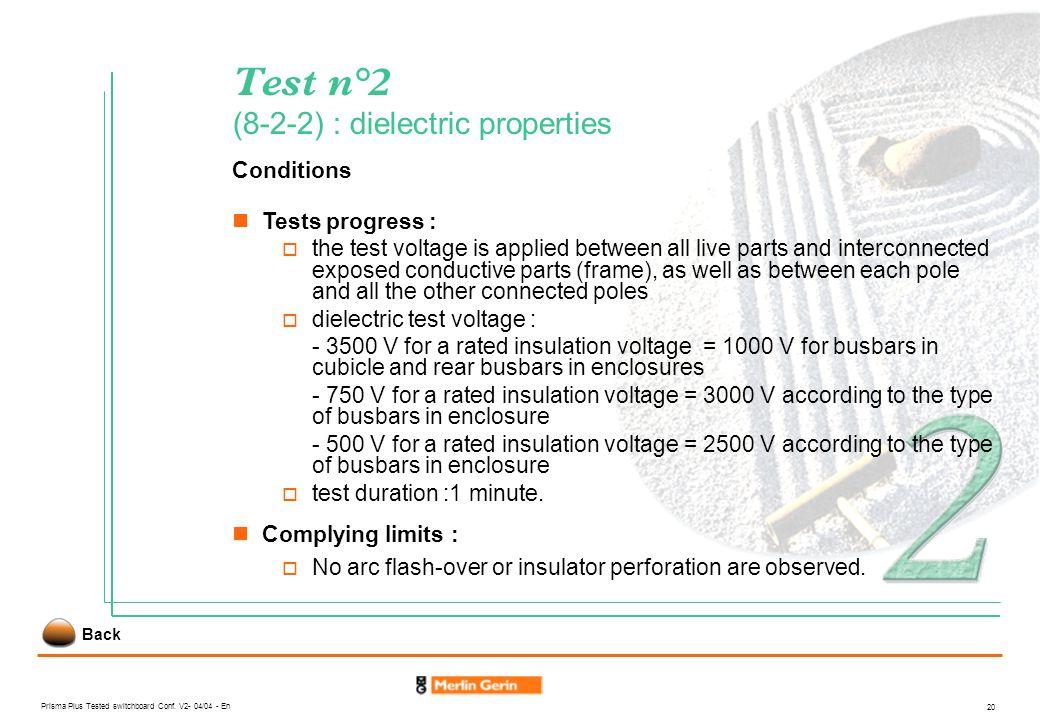 Test n°2 (8-2-2) : dielectric properties
