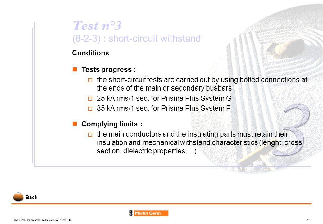 Test n°3 (8-2-3) : short-circuit withstand