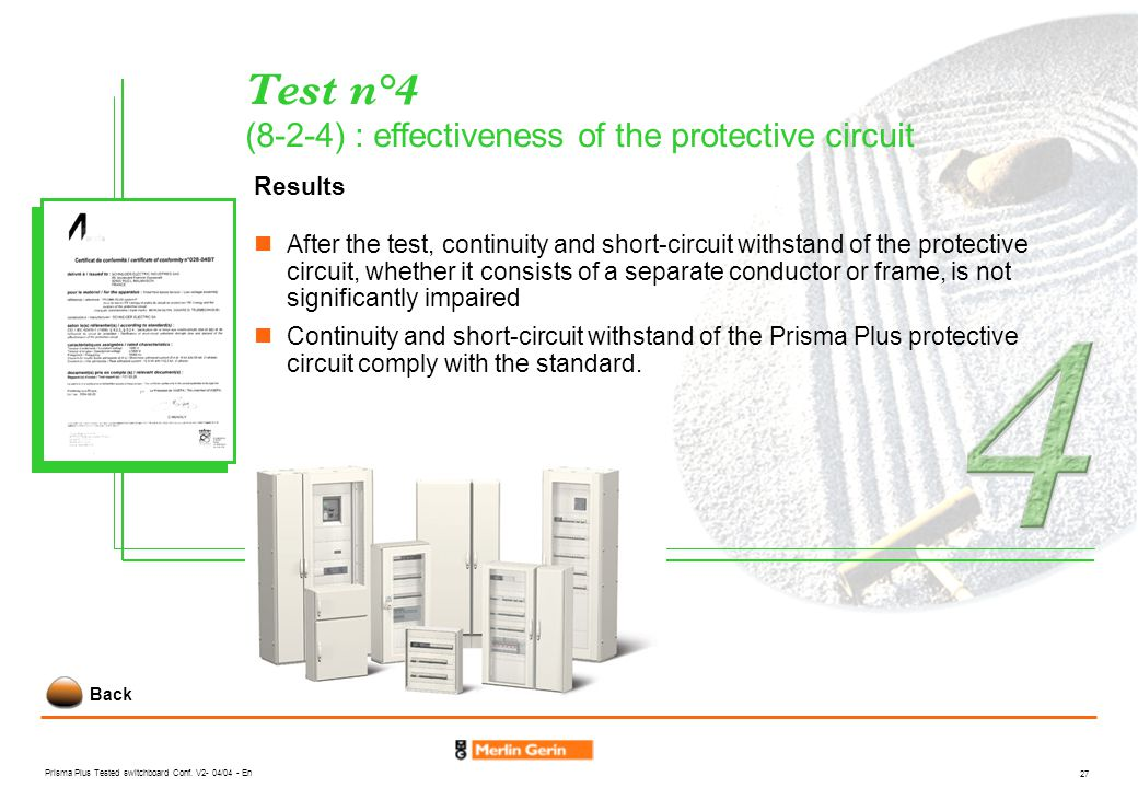 Test n°4 (8-2-4) : effectiveness of the protective circuit