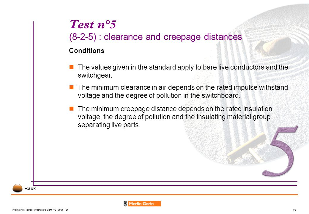 Test n°5 (8-2-5) : clearance and creepage distances