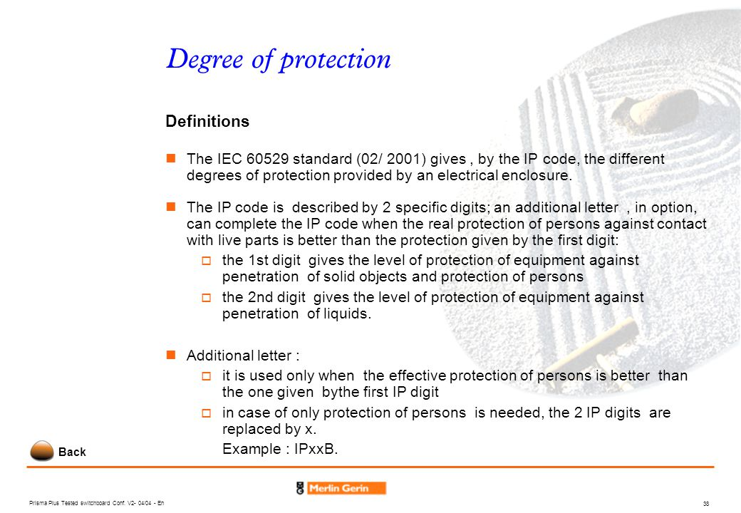 Degree of protection Definitions