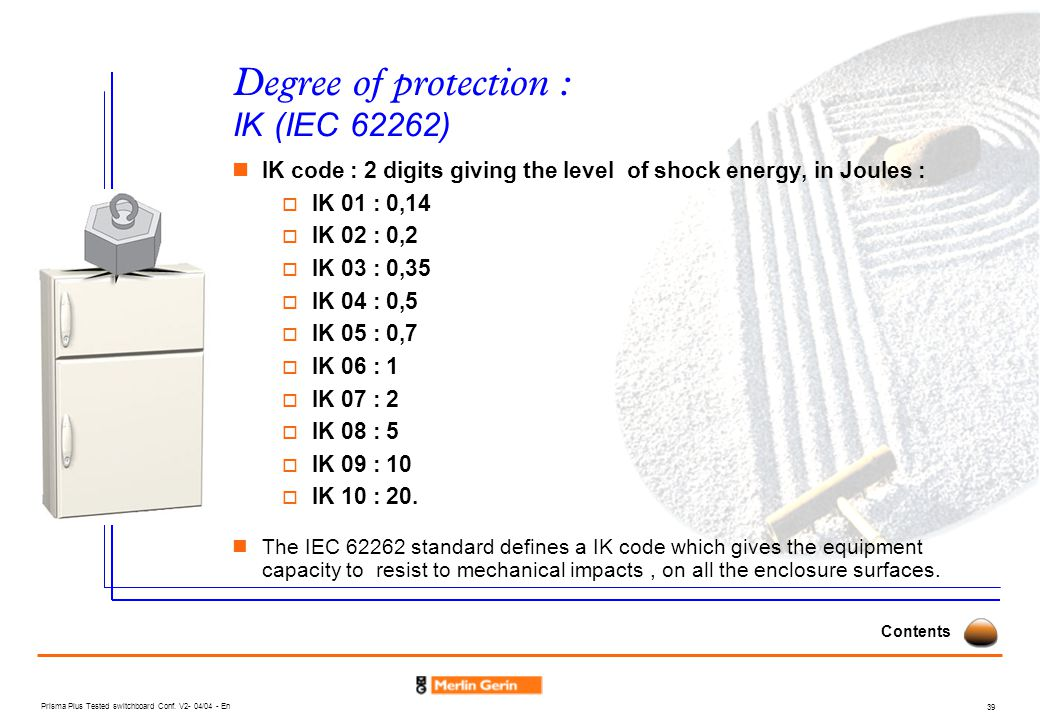 Degree of protection : IK (IEC 62262)