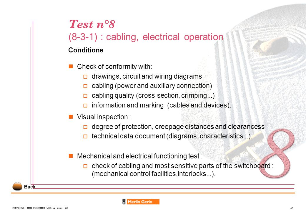 Test n°8 (8-3-1) : cabling, electrical operation