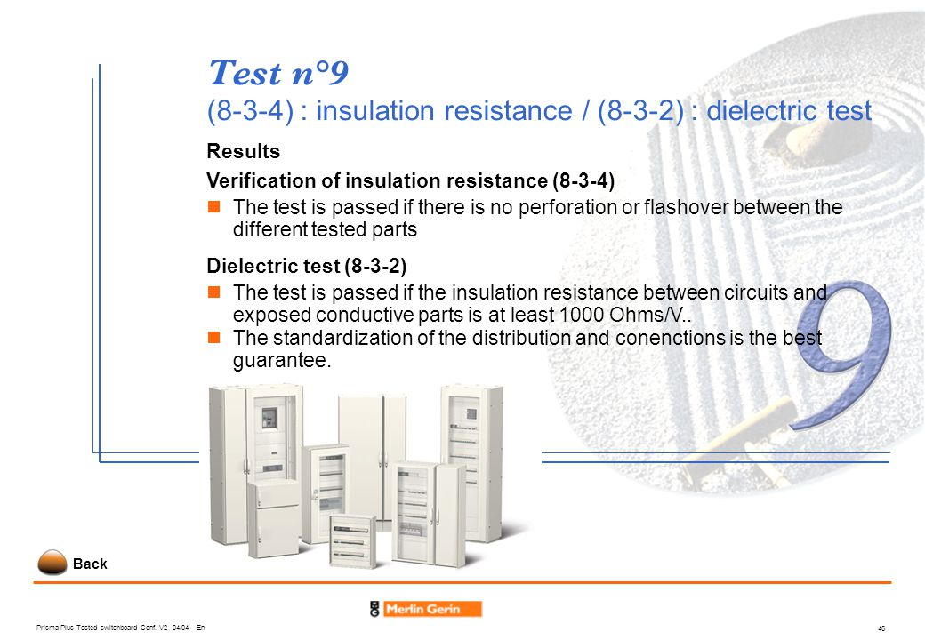 Test n°9 (8-3-4) : insulation resistance / (8-3-2) : dielectric test