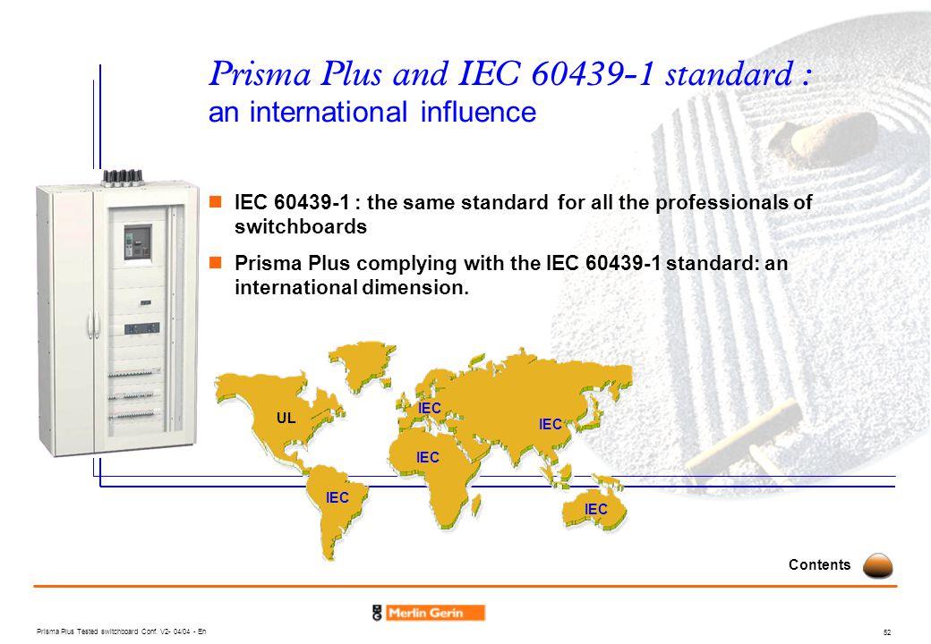 Prisma Plus and IEC 60439-1 standard : an international influence