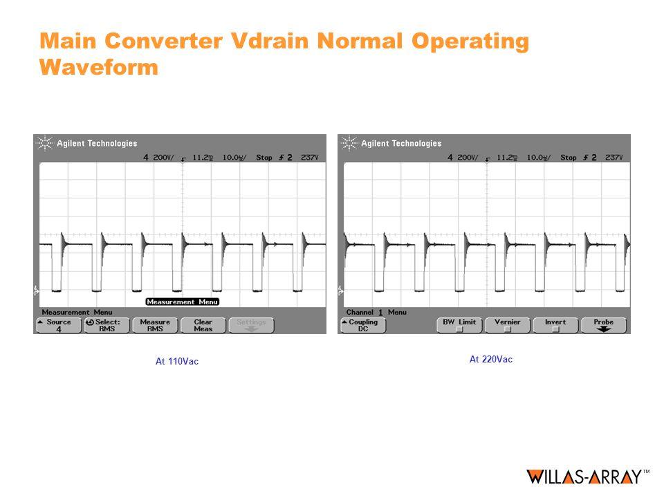 Main Converter Vdrain Normal Operating Waveform
