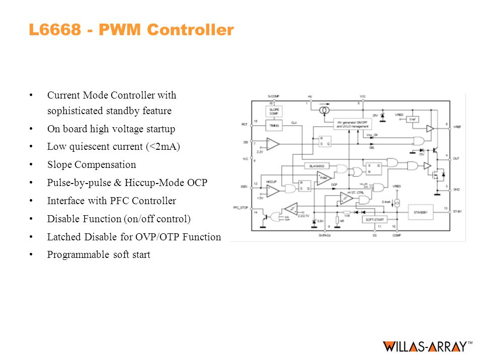 L6668 - PWM Controller Current Mode Controller with sophisticated standby feature. On board high voltage startup.