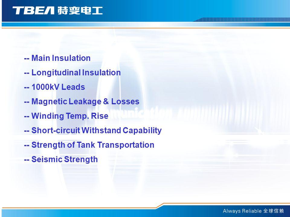 -- Longitudinal Insulation -- 1000kV Leads