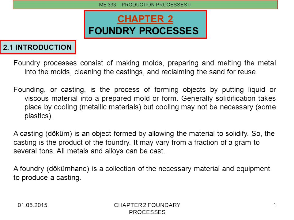 CHAPTER 2 FOUNDRY PROCESSES 2.1 INTRODUCTION
