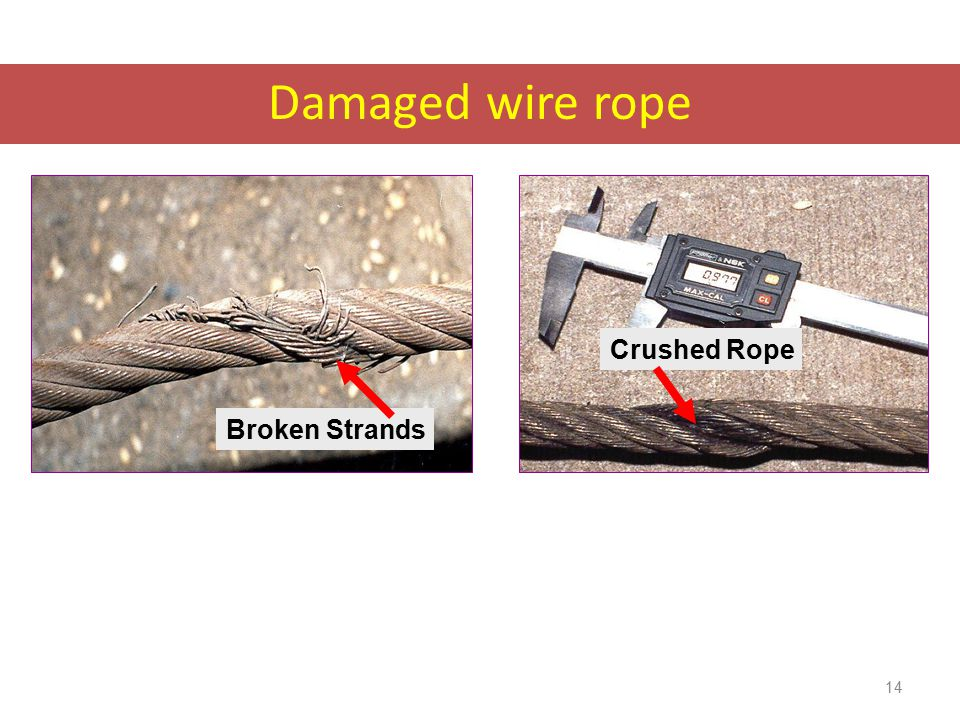 Damaged wire rope Damaged wire rope must be taken out of service