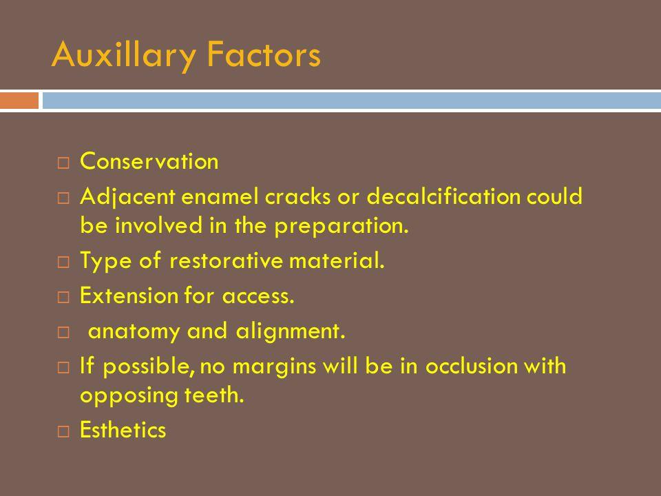 Auxillary Factors Conservation