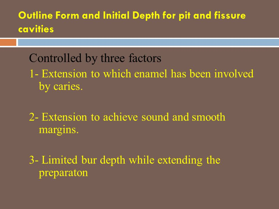 Outline Form and Initial Depth for pit and fissure cavities