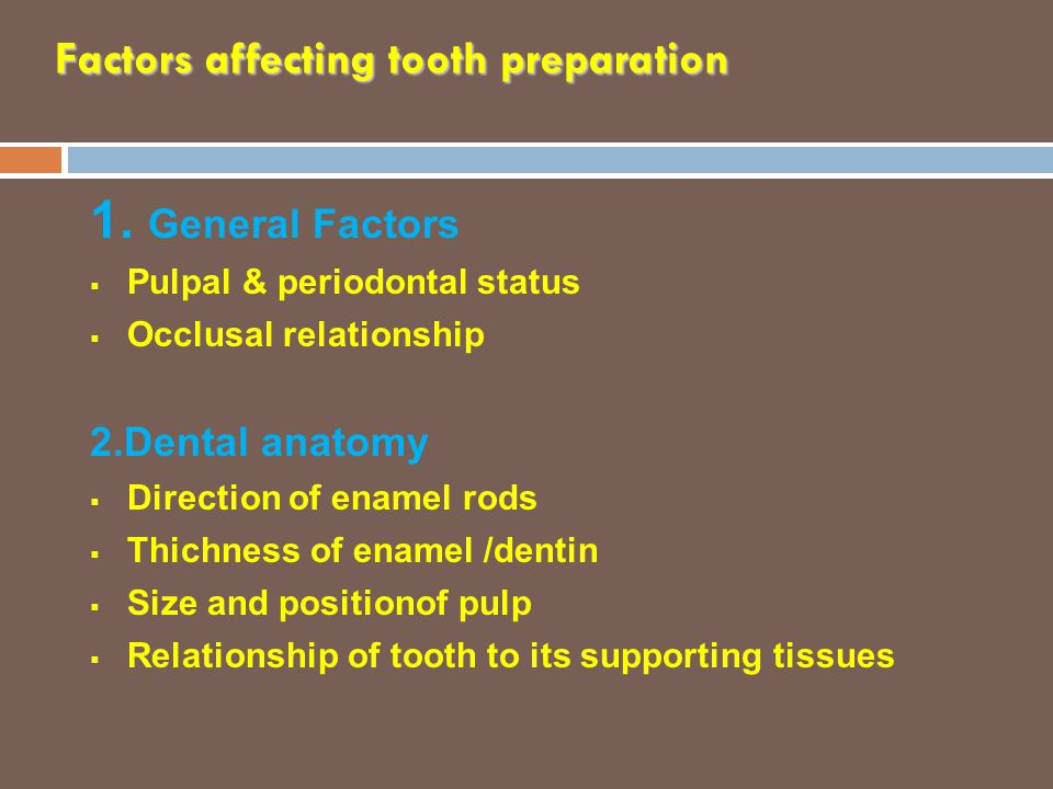 Factors affecting tooth preparation