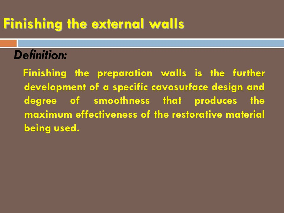 Finishing the external walls