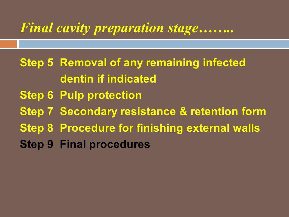 Final cavity preparation stage……..
