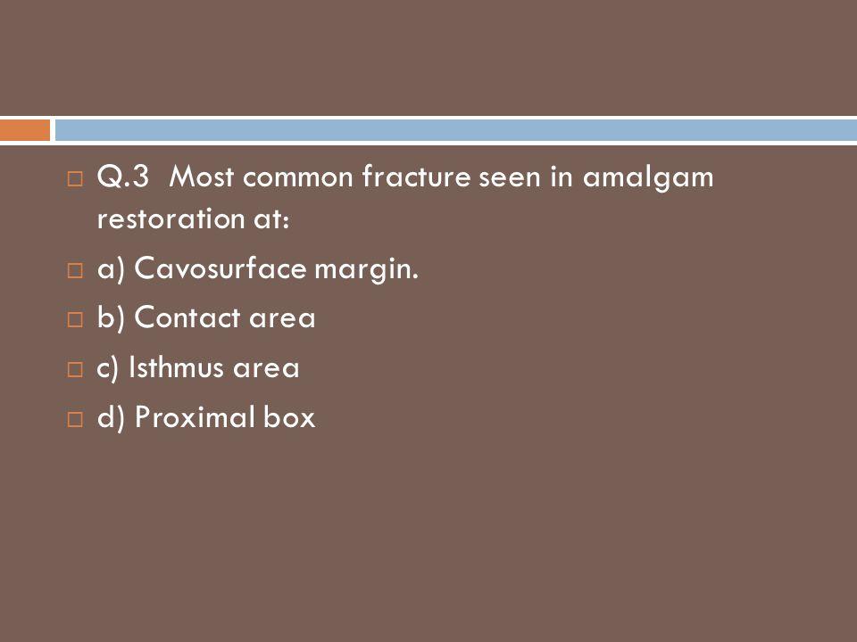 Q.3 Most common fracture seen in amalgam restoration at: