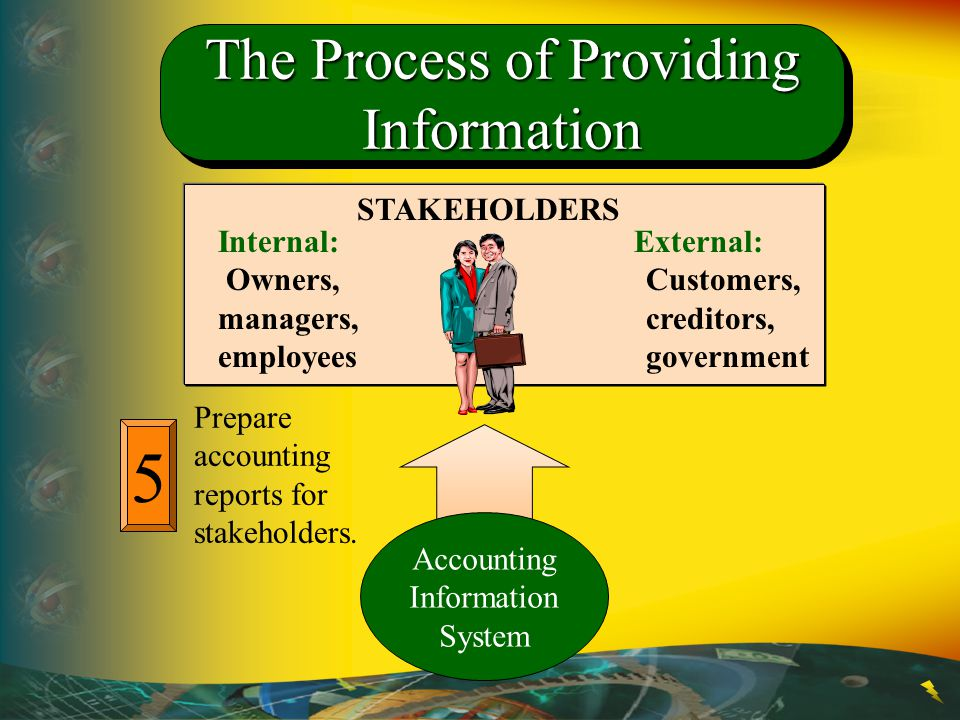 5 The Process of Providing Information STAKEHOLDERS Internal: