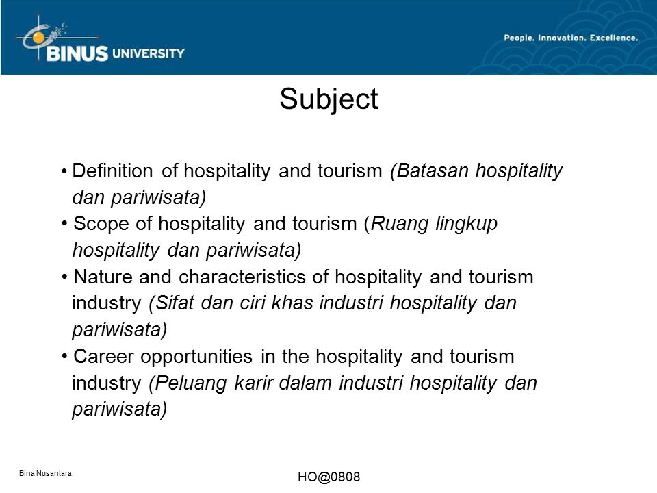 Subject dan pariwisata)