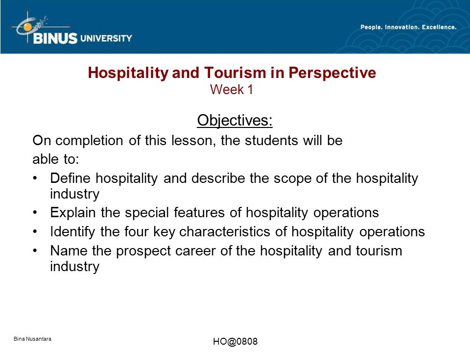 Hospitality and Tourism in Perspective Week 1