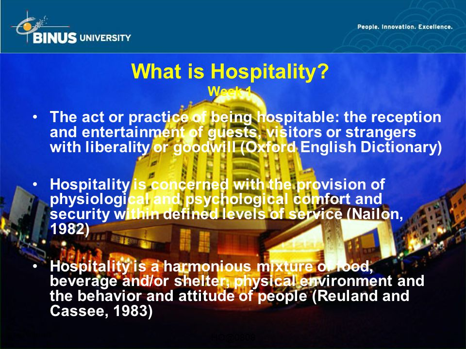 What is Hospitality Week 1