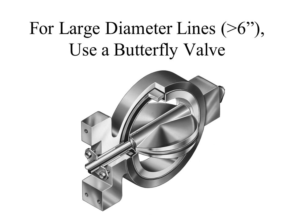 For Large Diameter Lines (>6 ), Use a Butterfly Valve