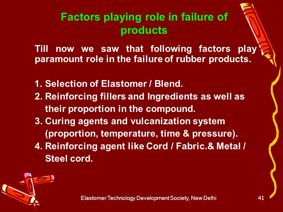 Factors playing role in failure of products