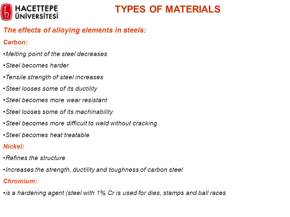 TYPES OF MATERIALS The effects of alloying elements in steels: Carbon: