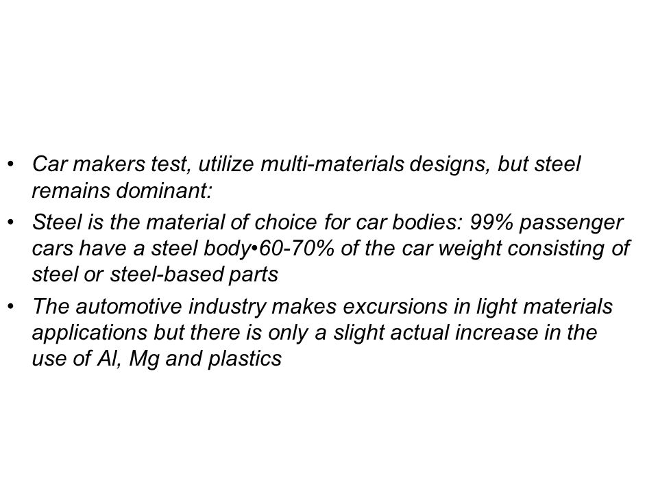 Car makers test, utilize multi-materials designs, but steel remains dominant: