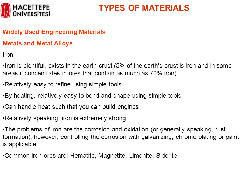 TYPES OF MATERIALS Widely Used Engineering Materials