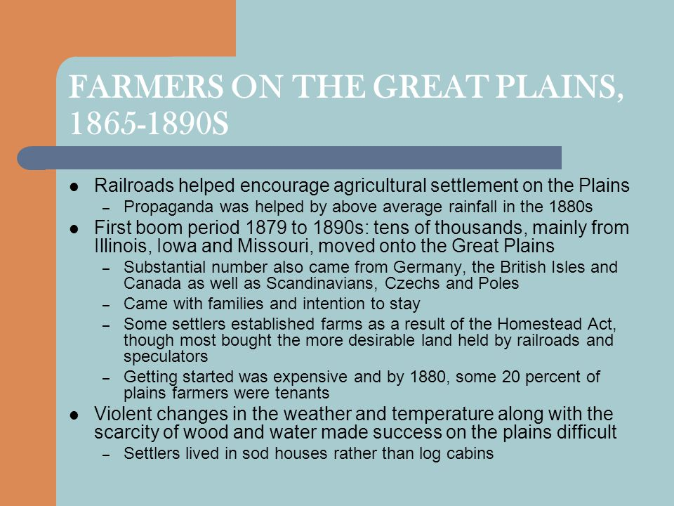 FARMERS ON THE GREAT PLAINS, 1865-1890S