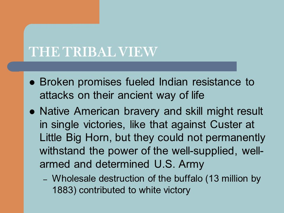 THE TRIBAL VIEW Broken promises fueled Indian resistance to attacks on their ancient way of life.
