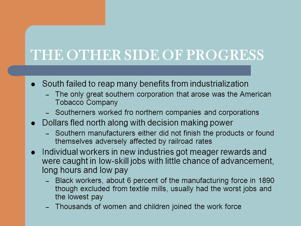 THE OTHER SIDE OF PROGRESS