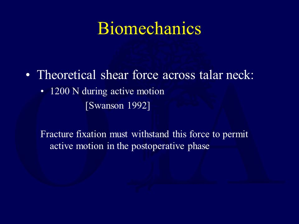Biomechanics Theoretical shear force across talar neck: