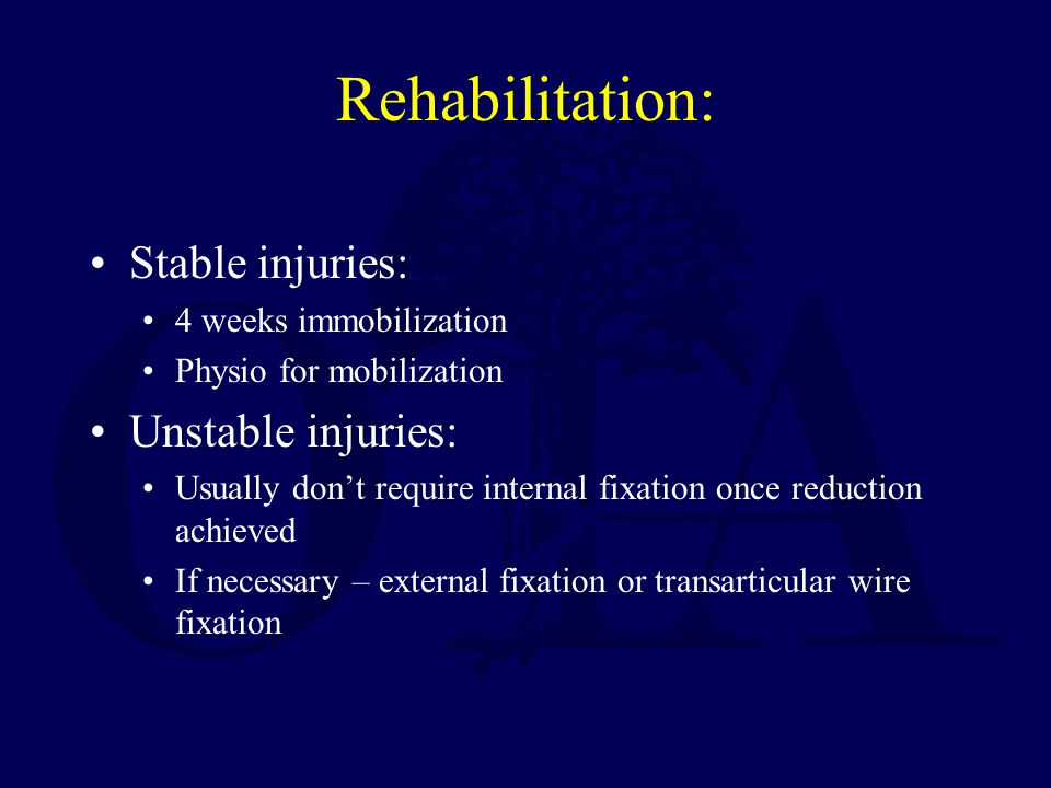 Rehabilitation: Stable injuries: Unstable injuries: