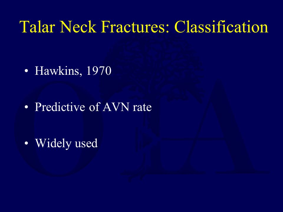 Talar Neck Fractures: Classification