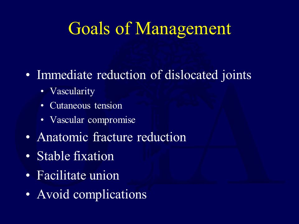 Goals of Management Immediate reduction of dislocated joints