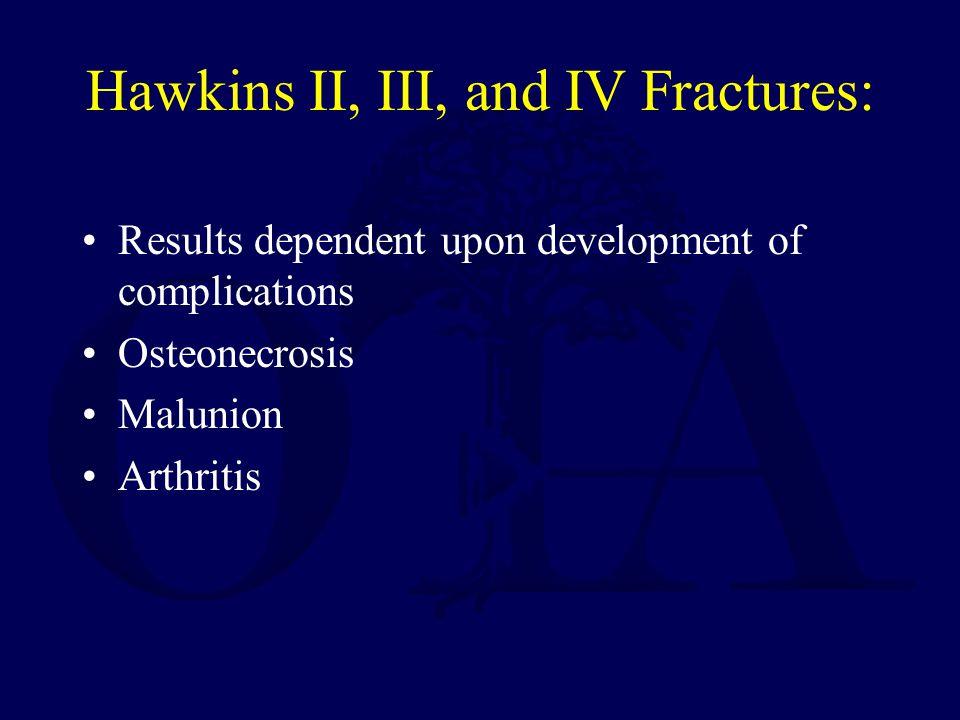 Hawkins II, III, and IV Fractures: