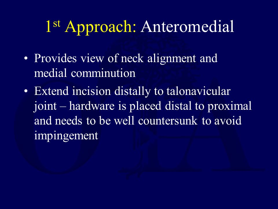 1st Approach: Anteromedial