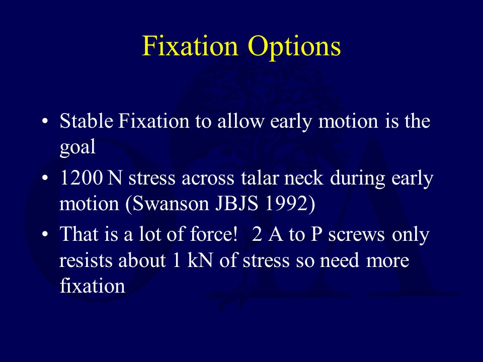 Fixation Options Stable Fixation to allow early motion is the goal