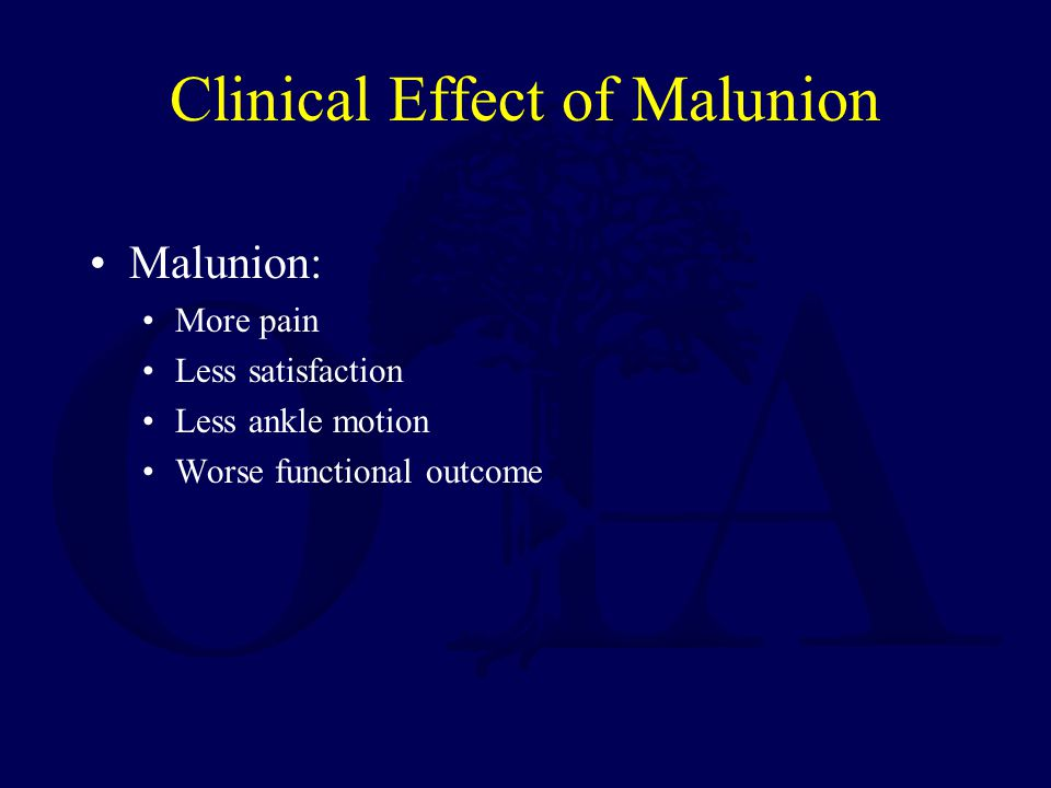 Clinical Effect of Malunion