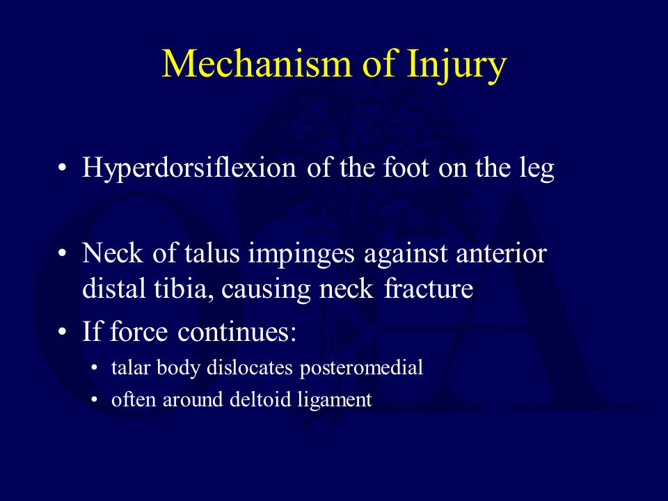 Mechanism of Injury Hyperdorsiflexion of the foot on the leg