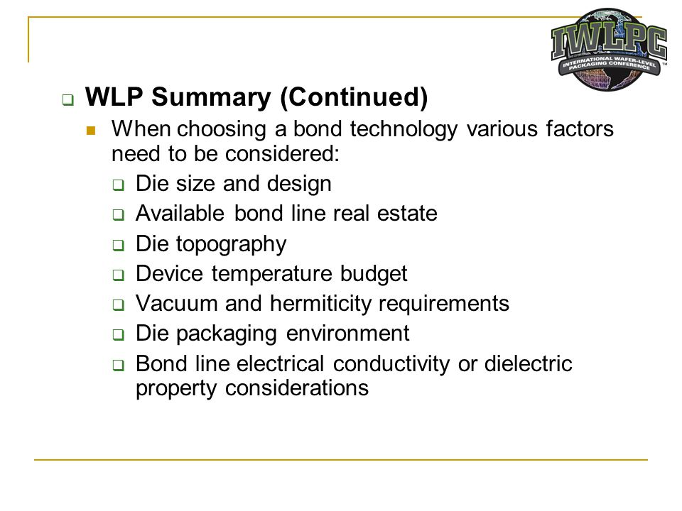 WLP Summary (Continued)