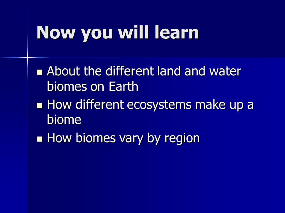 Now you will learn About the different land and water biomes on Earth