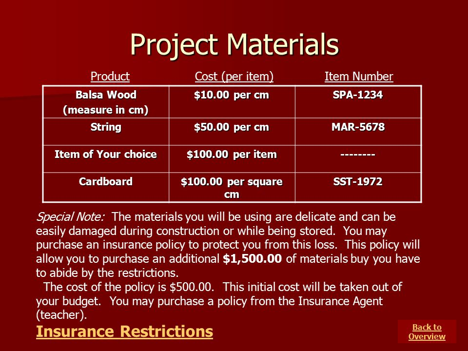 Project Materials Insurance Restrictions