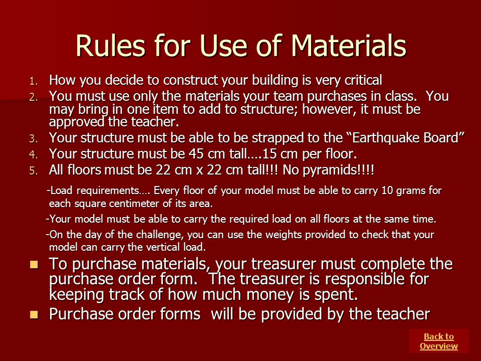 Rules for Use of Materials