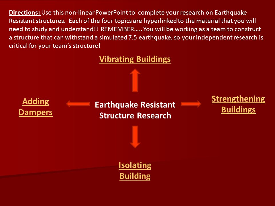 Strengthening Buildings Earthquake Resistant Structure Research