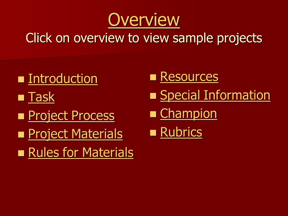 Overview Click on overview to view sample projects