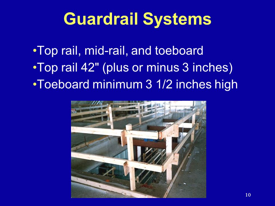 Guardrail Systems Top rail, mid-rail, and toeboard