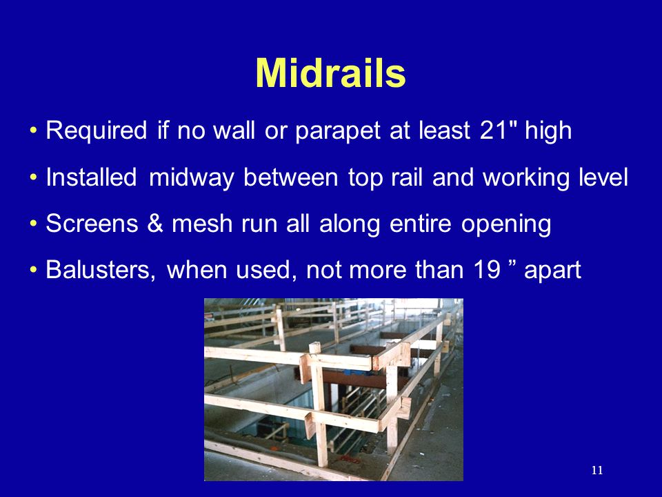 Midrails Required if no wall or parapet at least 21 high